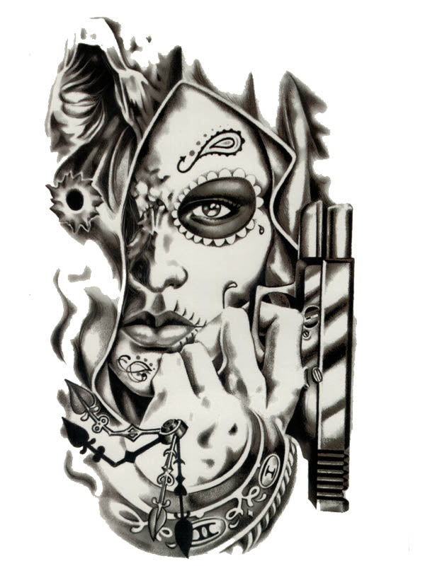 Santa Muerte Killer Woman - Tatouage Ephémère - Tattoo Forest