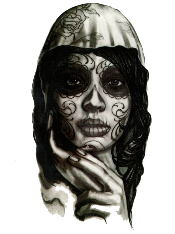 Santa Muerte Girl - Tatouage Ephémère - Tattoo Forest