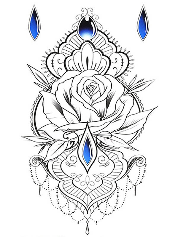 Sapphire Lotus and Rose Underboob - Tatouage Ephémère - Tattoo Forest