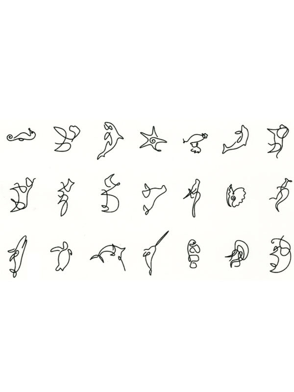 Simplified Animals - Seahorse, Orca, Dolphin, Bull, Fox, Lion, Whale, Narwhal and Kangaroo - Tatouage Ephémère - Tattoo Forest