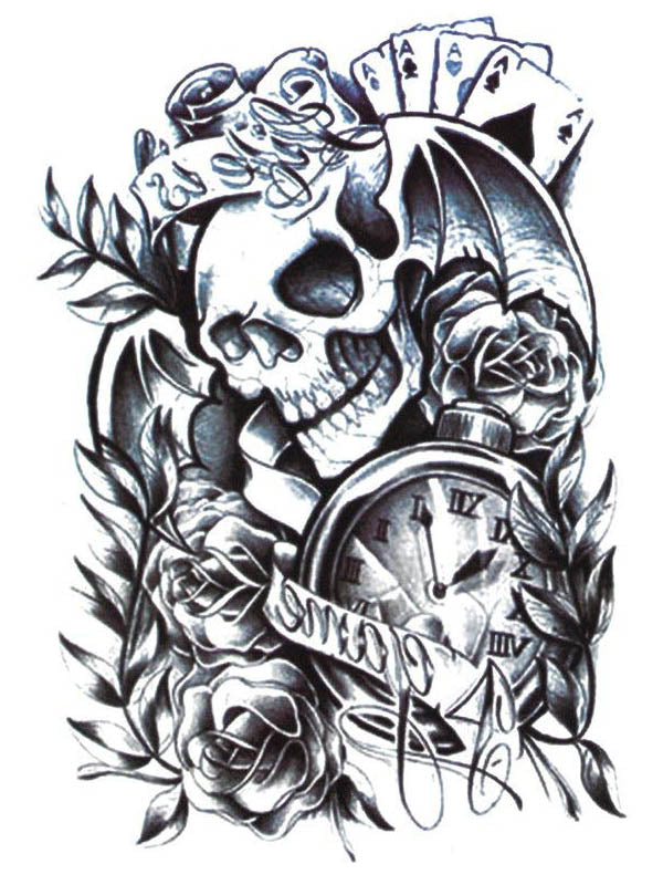Skull, Roses, Clock and Cards