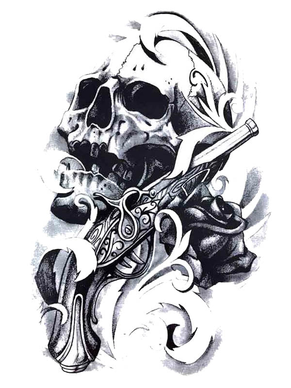 Skull & Old Gun - Tatouage Ephémère - Tattoo Forest