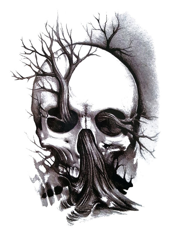 Skull With a Tree in The Nose - Tatouage Ephémère - Tattoo Forest