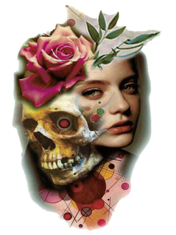Skull and Rose Lady - Tatouage Ephémère - Tattoo Forest