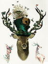 Stag with a Flowered Topper Hat, Birds, Butterflies, Doe and Roe
