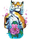 Standing Tiger and Pink Flower Petals