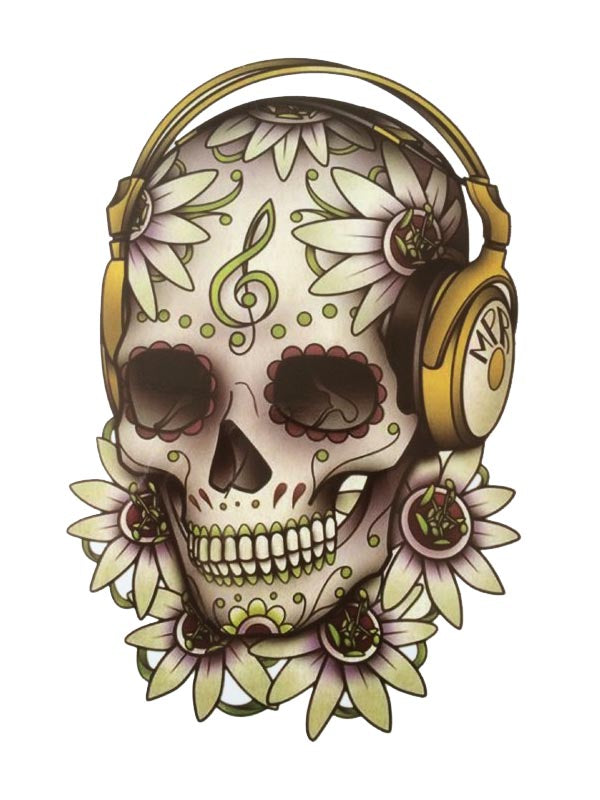 Sugar Skull with Headset - Tatouage Ephémère - Tattoo Forest