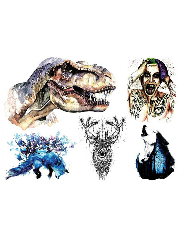 T-Rex, Joker, Blue Fox, Deer and Wolf - Tatouage Ephémère - Tattoo Forest