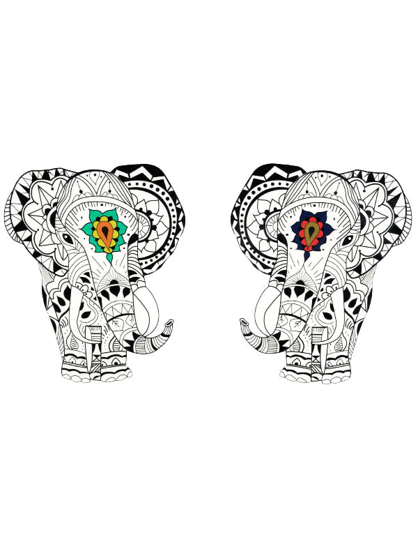 Two Lotus Mandala Elephants
