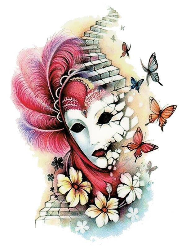 Venetian Mask, Stairs, Flowers and Butterflies