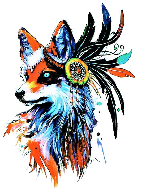 Watercolor Fox - Tatouage Ephémère - Tattoo Forest