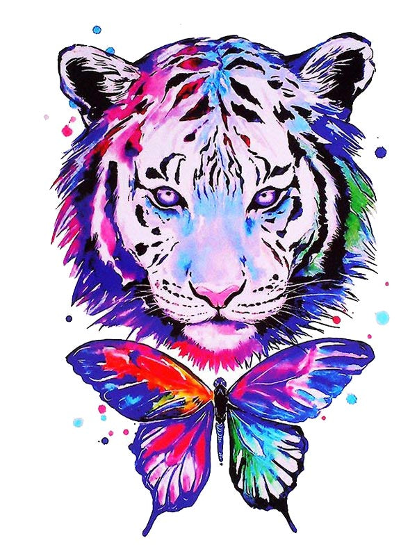 Watercolor Tiger Butterfly Tatouage Tigre Tattoo Ephemere