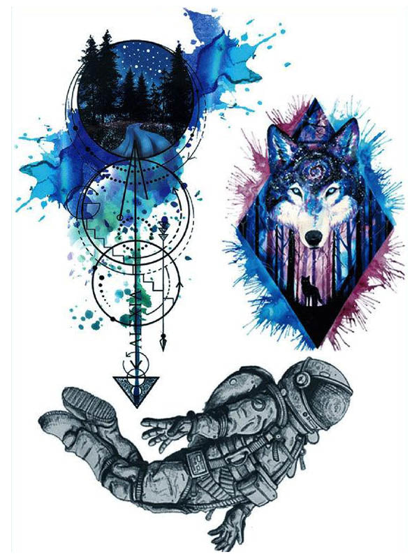 Watercolor Arrow, Galaxy Wolf and Astronaut - Tatouage Ephémère - Tattoo Forest
