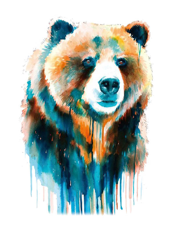 Watercolor Bear - Tatouage Ephémère - Tattoo Forest