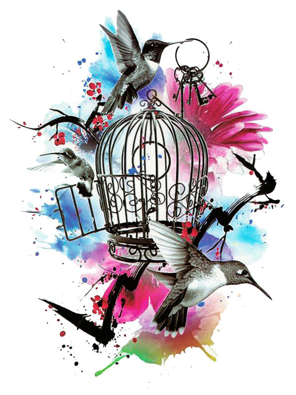 Watercolor Birdcage, Keys and Hummingbirds