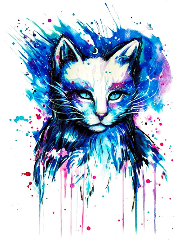 Watercolor Cat - Tatouage Ephémère - Tattoo Forest