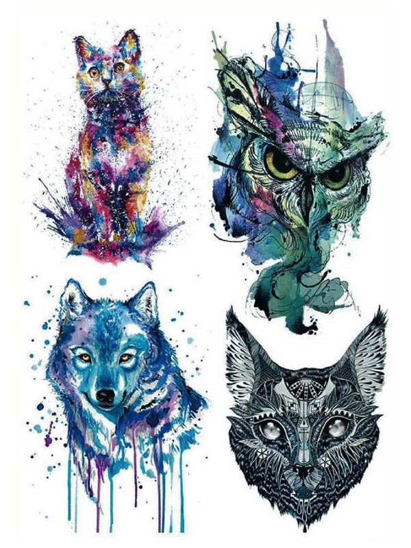 Watercolor Cat, Owl, Maori Cat and Wolf - Tatouage Ephémère - Tattoo Forest