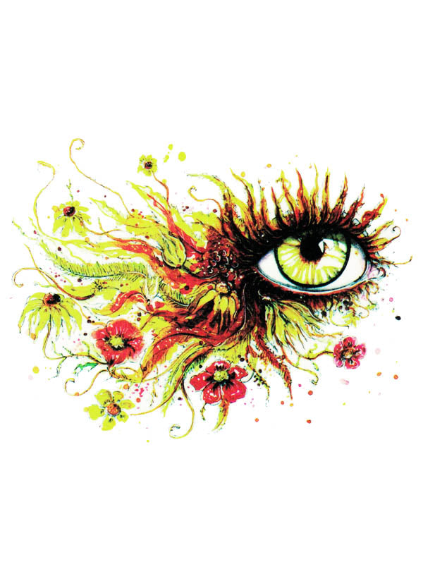 Watercolor Eye and Flowers