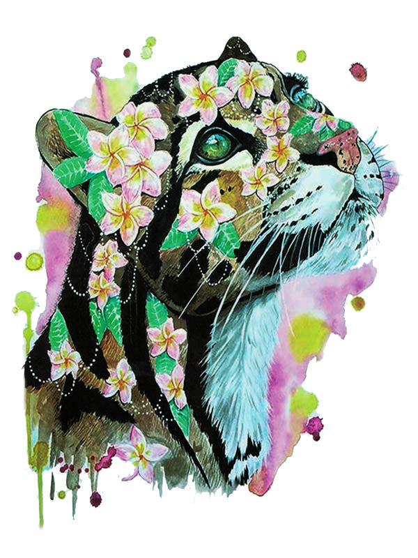 Watercolor Flowered Leopard
