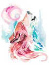 Watercolor Howling Wolf