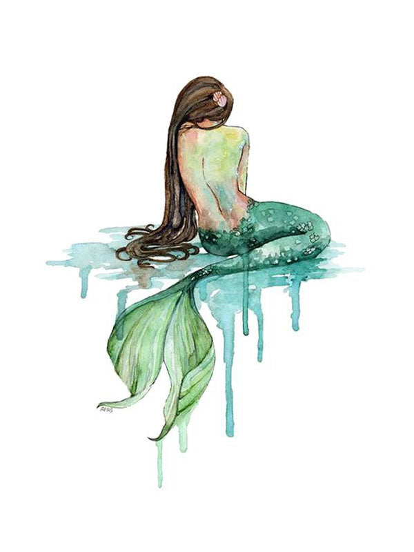 Watercolor Mermaid - Tatouage Ephémère - Tattoo Forest
