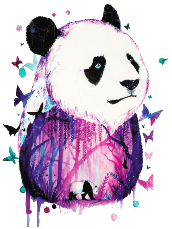 Watercolor Purple Panda