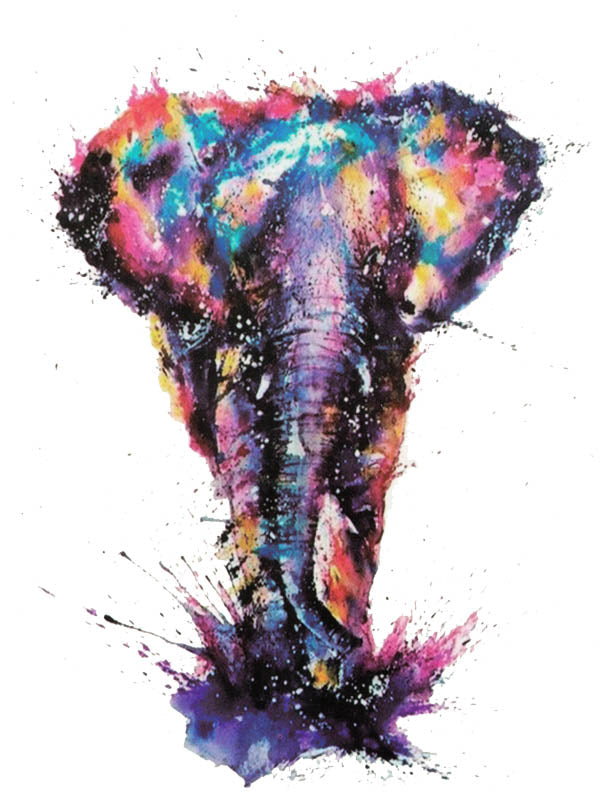 Watercolor Rainbow Elephant