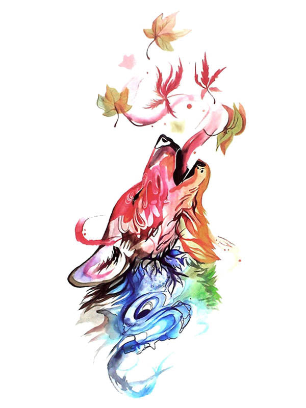 Watercolor Rainbow Wolf 1