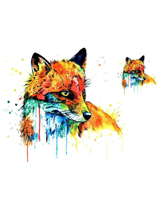 Watercolor Red Fox - Tatouage Ephémère - Tattoo Forest