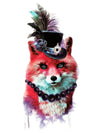 Watercolor Red Fox with Topper Hat and Black Pearl Necklace