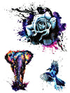 Watercolor Rose, Rainbow Elephant and Bird - Tatouage Ephémère - Tattoo Forest
