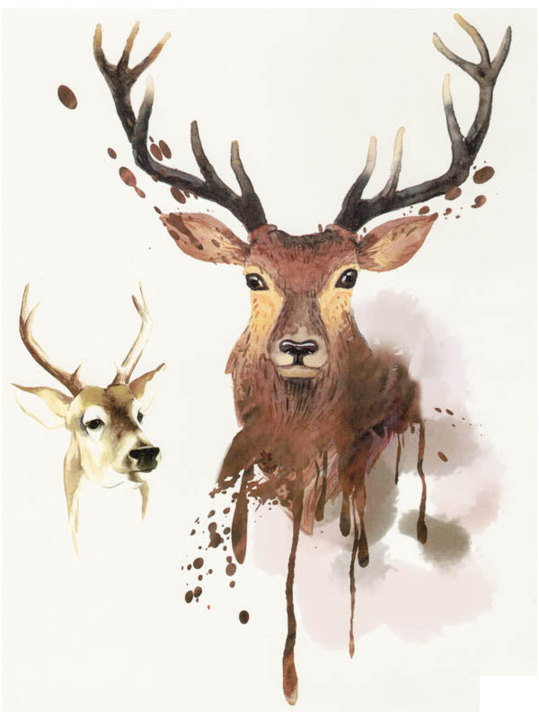 Watercolor Stag and Roe