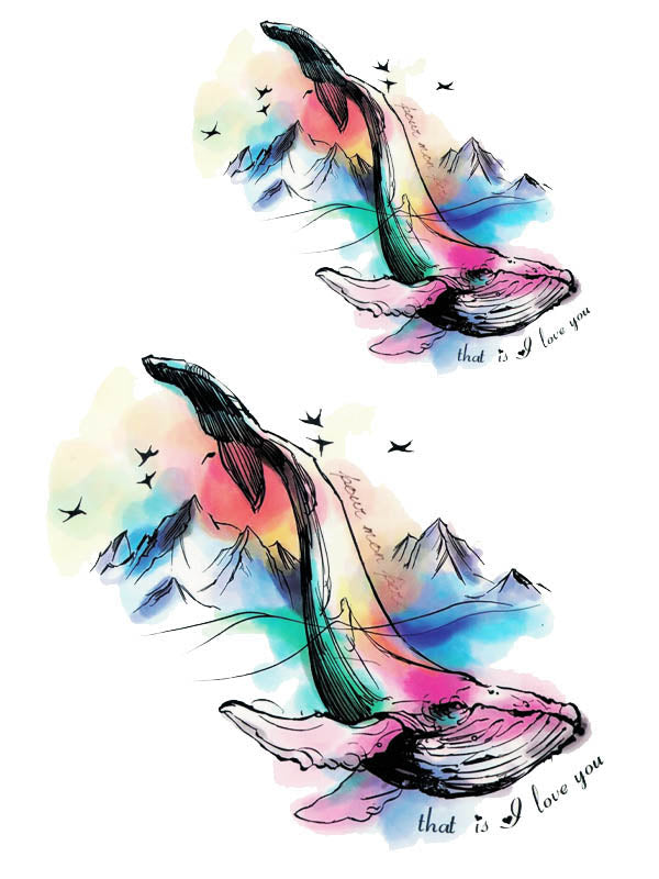 Watercolor Whale and Mountains