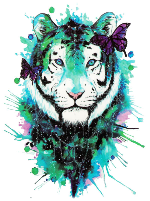 Watercolor White Tiger and Purple Butterflies