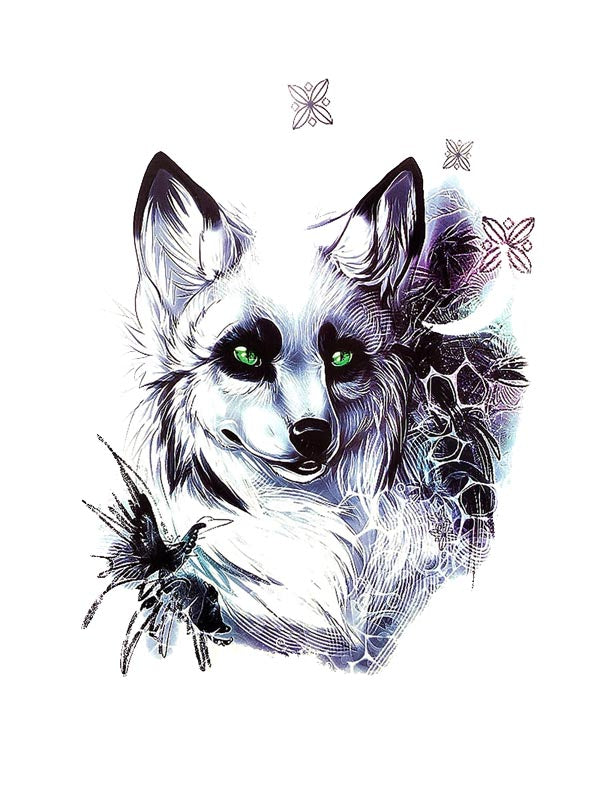White Fox - Tatouage Ephémère - Tattoo Forest