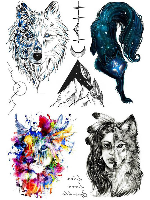 Wolf, Hippie Lion, Indian Girl and Mountain