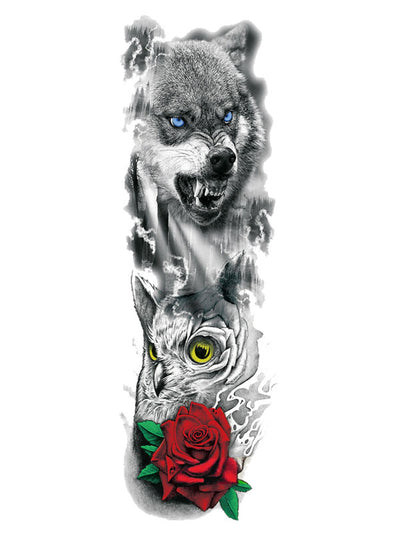 Wolf Owl Rose Tatouage Temporaire Loup Tattoo Forest