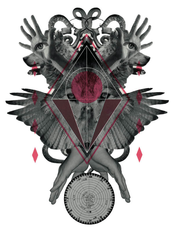 Wolf with Eye of Providence, Human Hands and Wings