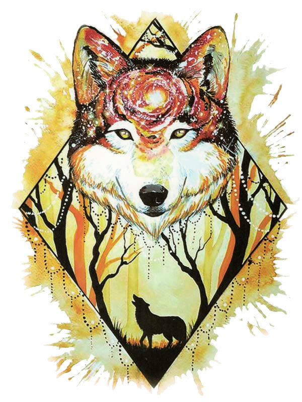 Yellow Forest and Red Galaxy Wolf 1