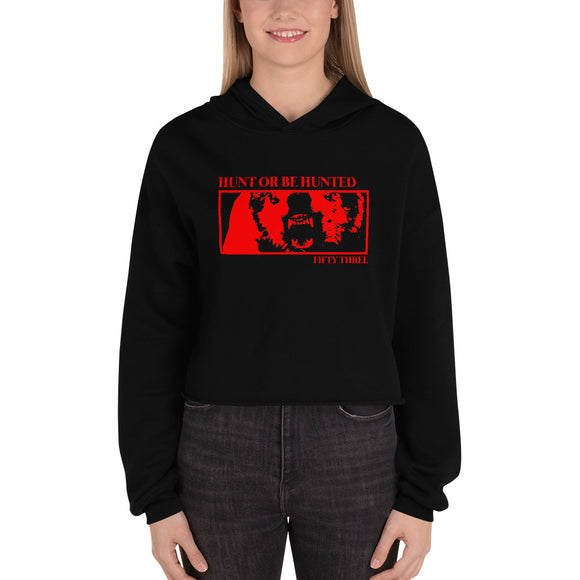 HUNT OR BE HUNTED CROP HOODIE - BLACK / RED