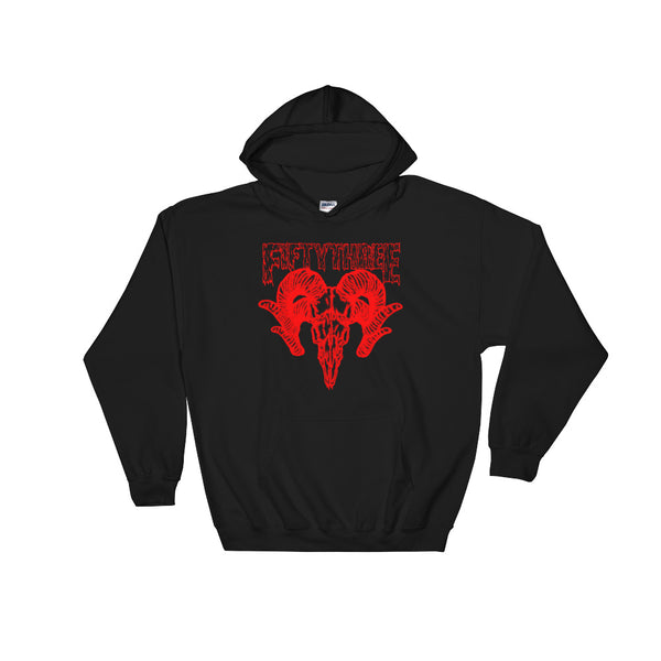 Duo Goat Skull Hooded Sweatshirt - Black / Red - 53Outdoors