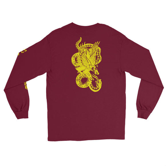 Snake & Eagle Long Sleeve T-Shirt - Maroon / Yellow - 53Outdoors