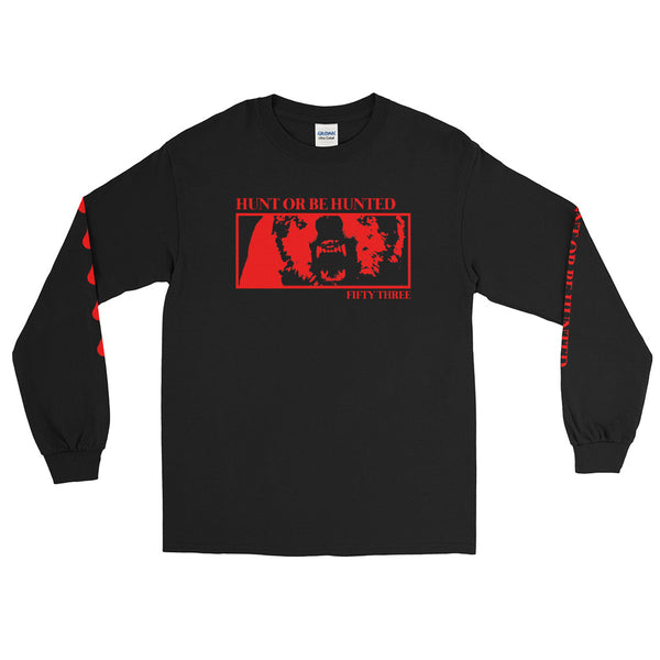 Hunt or Be Hunted Long Sleeve T-Shirt with Sleeve Print - Black / Red - 53Outdoors