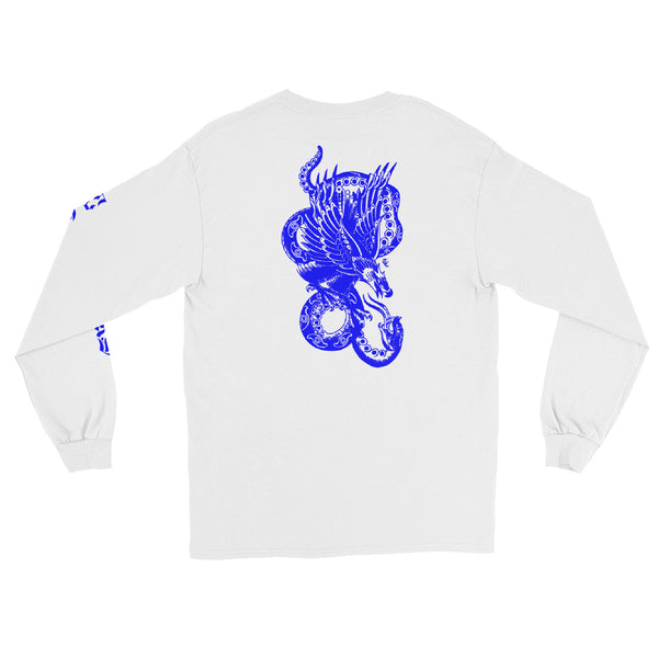Snake & Eagle Long Sleeve T-Shirt - White / Blue - 53Outdoors