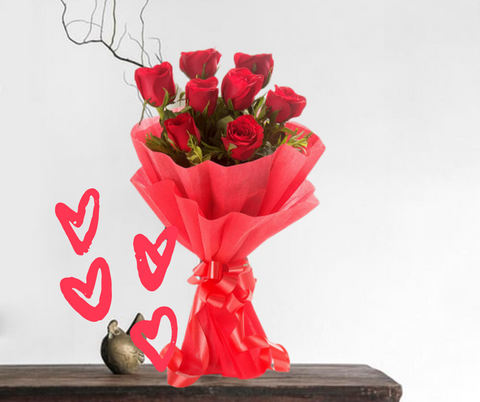 Lovely 8 Red Rose Bouquet