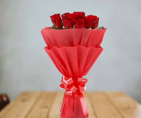 Vivid - 10 Red Roses Bouquet