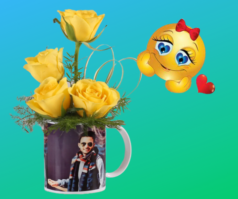 Yellow Roses in Personalised Mug