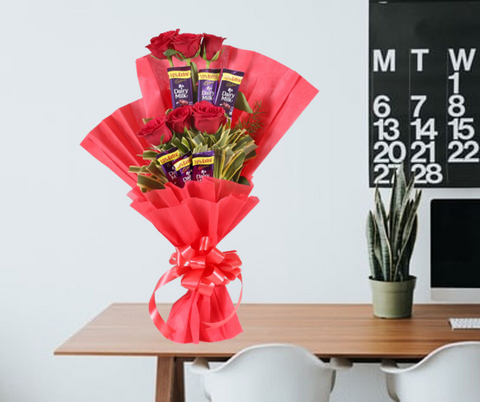 6 Red Roses Chocolate Bouquet