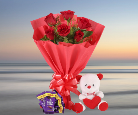 Rosy Love Affair- Teddy Bear & Chocolates