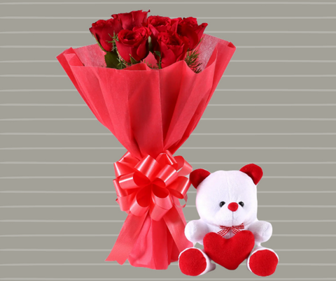 6 Red Roses Bouquet & Teddy Bear Combo